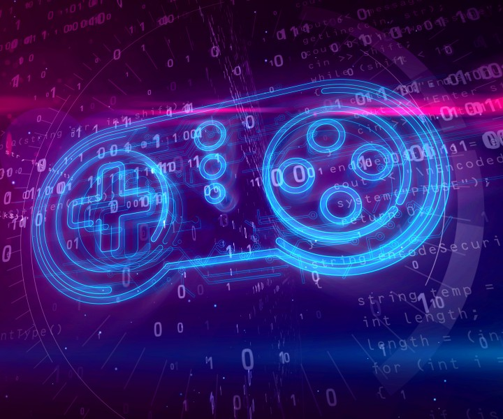 Retro gamepad controller hologram on digital background. 5G, gaming, play, pad and online game abstract concept 3D illustration.